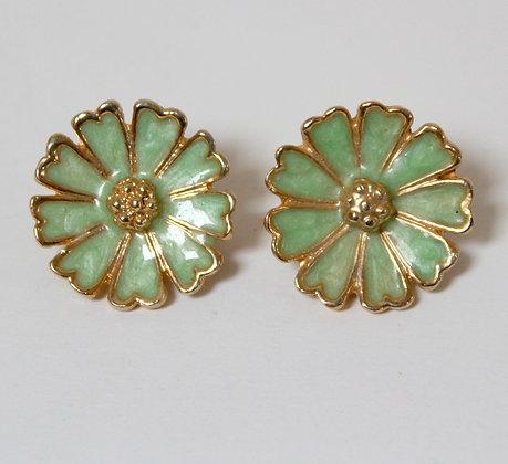 Clips fleurs vert amande