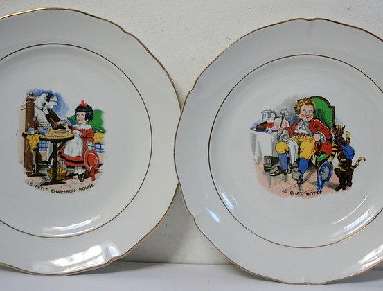 Assiettes illustrées contes de Perrault