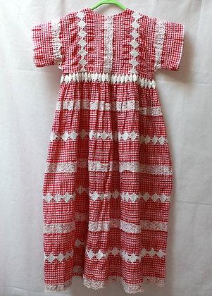 Robe longue vintage rouge et blanche