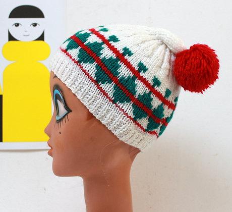 Bonnet vintage à pompon rouge