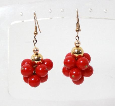 Boucles à pendants rouges