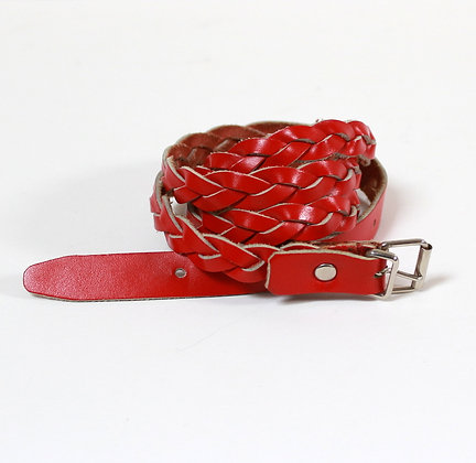 Ceinture cuir tressé rouge