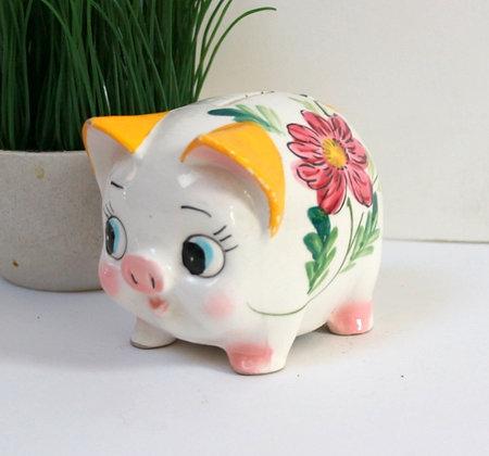 Tirelire cochon fleuri