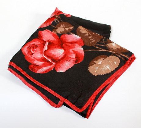 Foulard carré aux roses rouges