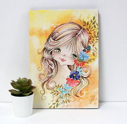 Fillette aux fleurs - Déco murale