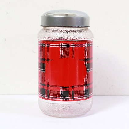Bocal vintage motif tartan rouge