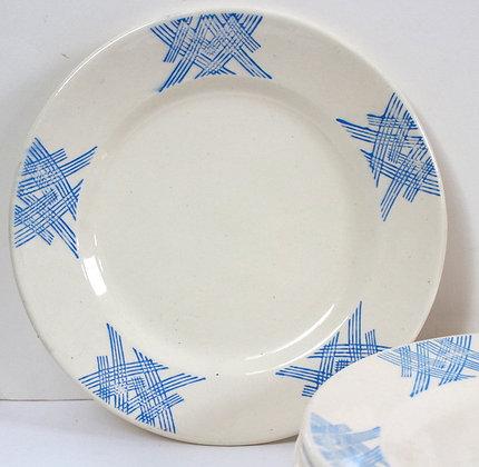 Assiettes à dessert motifs bleus