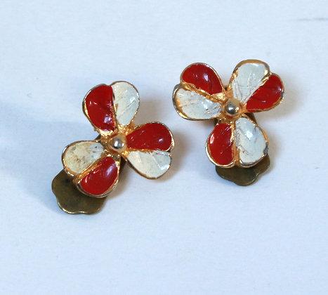 Clips fleurs, rouge blanc et or