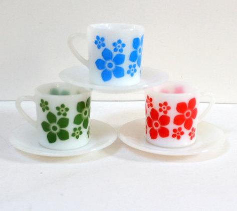 3 tasses fleuries
