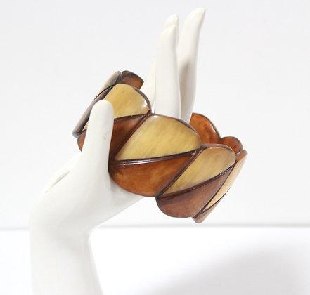 Bracelet en corne bicolore