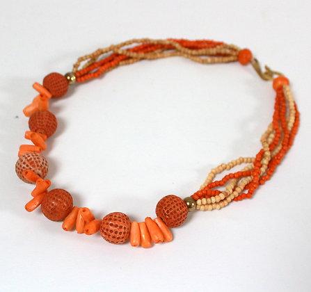 Collier couleur corail