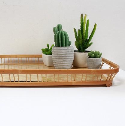 Plateau vintage en bambou et verre