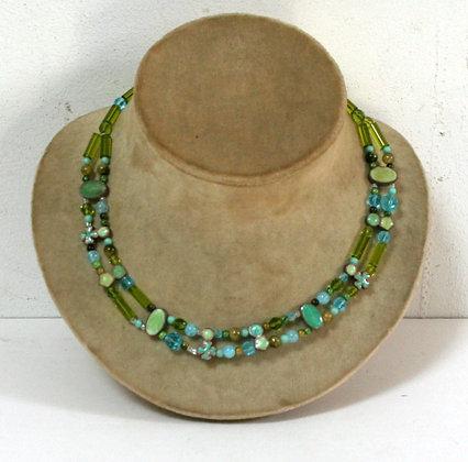 Collier vert et bleu turquoise