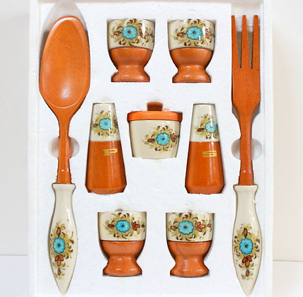 Ensemble bois et porcelaine cuisine vintage