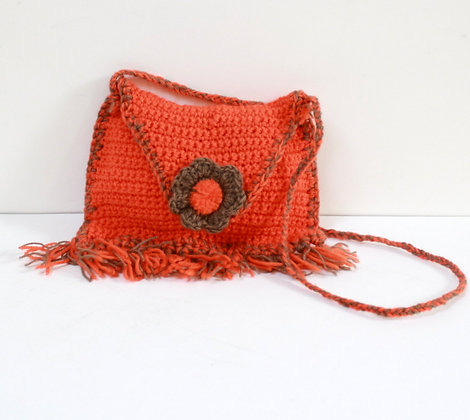 Mini sac tricot orange