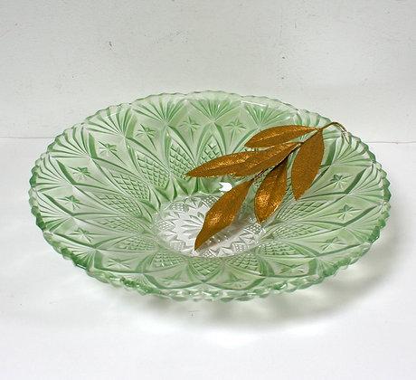 Grande coupe à fruits en verre vert