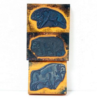 3 tampons anciens animaux d'Amérique