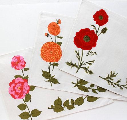 Serviettes fleuries 1960