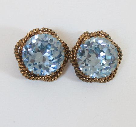Clips anciens cristal bleu