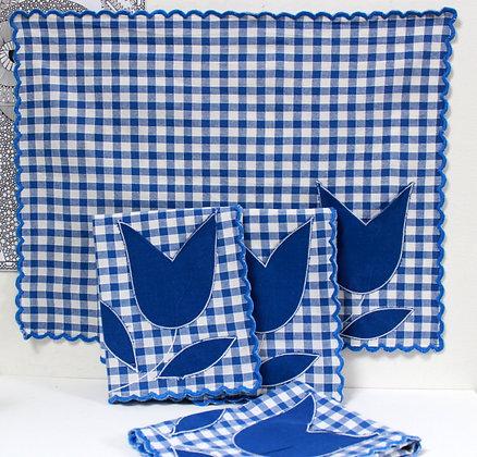 4 sets de table carreaux bleus et tulipes