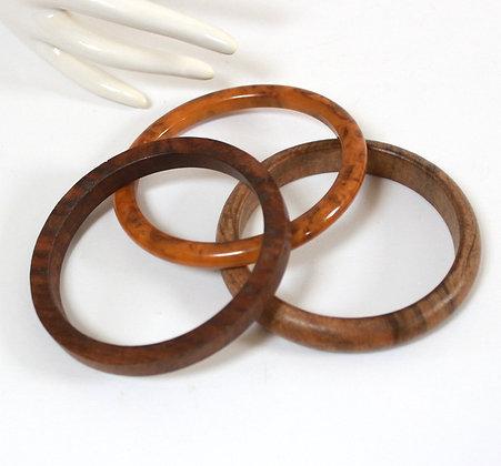 3 bracelets bois et bakélite