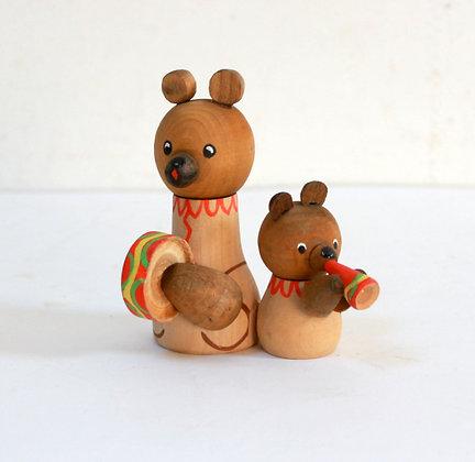 Figurines déco ours en bois