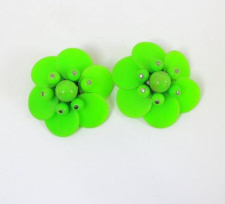 Clips grosses fleurs vertes