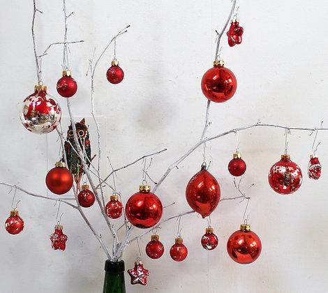 Boules de Noël anciennes rouge orangé