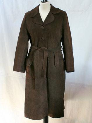 Manteau rétro en daim marron