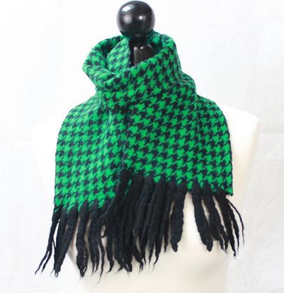 Echarpe en laine verte et noire