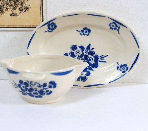 Ravier et saucier fleurs bleues