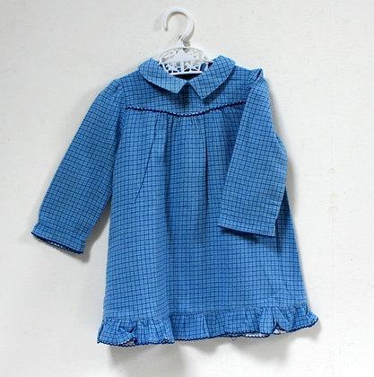 Robe bleue petits carreaux