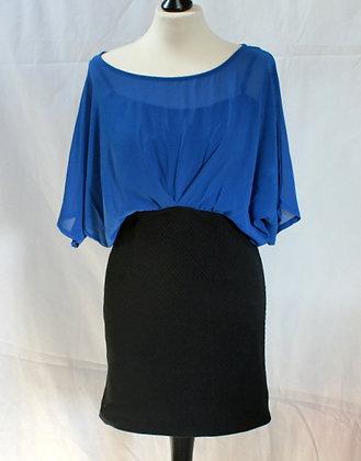 Robe bleue et noir esprit 80's