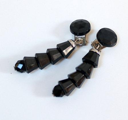 Clips chics pendants noirs à facettes