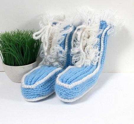 Chaussons kitsch tricotés main