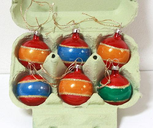 6 petites boules vintage multicolores