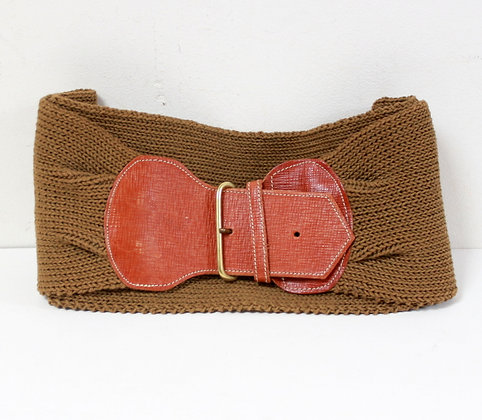 Large ceinture en mailles et cuir
