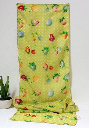 Foulard en soie fruits d'été et pois