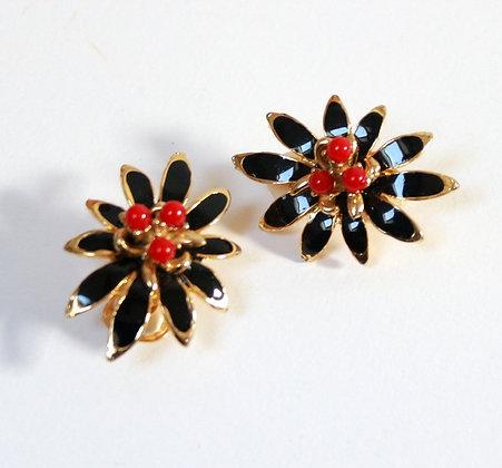 Clips fleurs en métal émaillé
