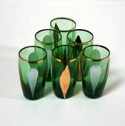 6 verres à shots anciens 1950