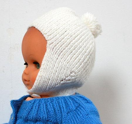 Bonnet blanc à pompon