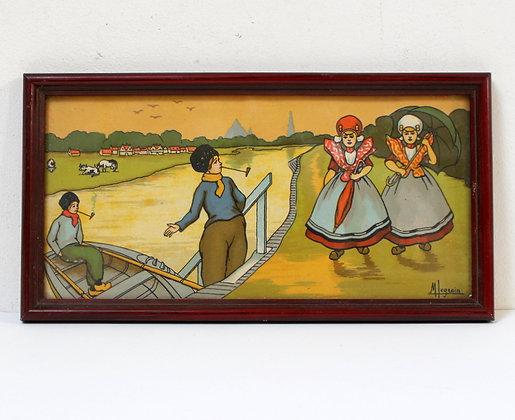 Tableau illustration scène enfantine hollandaise