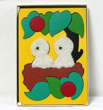 """Puzzle tactile """"oisillons au nid"""""""