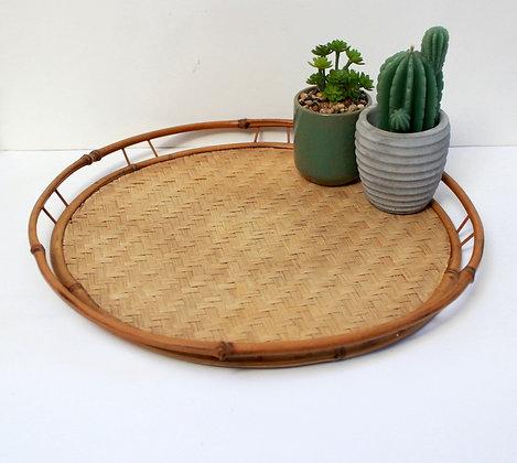 Plateau rond en bambou
