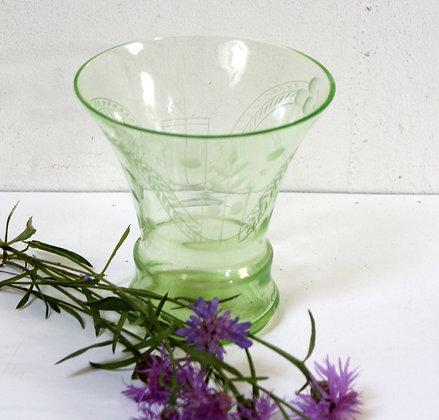Vase ancien Art Déco cristal vert