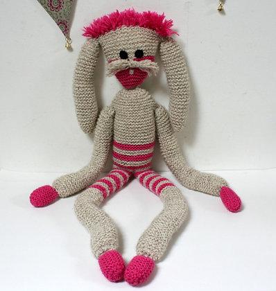 Grand doudou lapin tricoté main