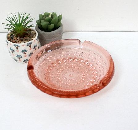 Cendrier vintage en verre rose