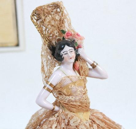 Boîte à poudre figurine ancienne