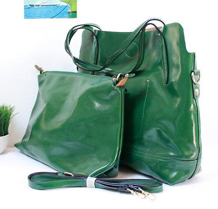 Grand sac 2 en 1 en simili vert