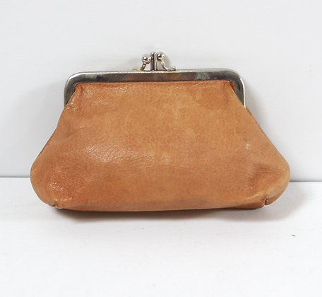 Porte-monnaie cuir caramel
